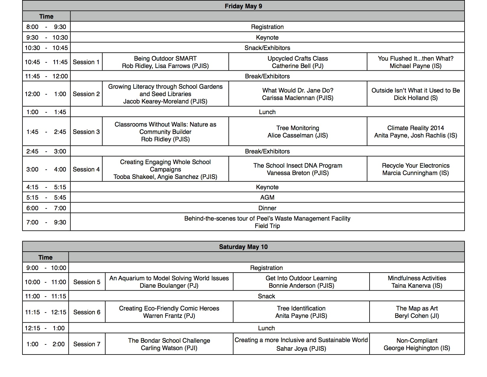 EcoLinks 2014 Schedule DRAFT April9